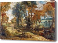 Картина Телега,преодолевающая поток в брод