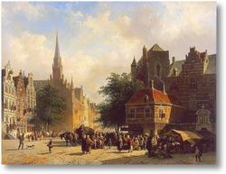 Купить картину Базарный день в голландском городе