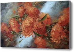 Картина Красные хризантемы