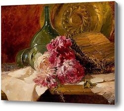 Картина Натюрморт с цветами и стеклом, 1879
