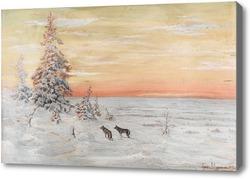 Картина Зимний пейзаж с волками