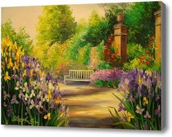 Картина В саду зацвели ирисы