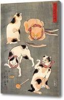 Картина Четыре кошки в разных позах
