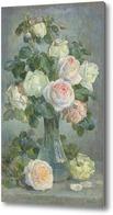 Картина Стеклянная ваза с букетом роз