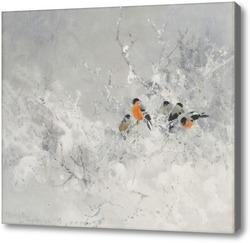 Картина Снегири в зимнем пейзаже
