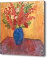 Картина Красные цветы в голубой вазе