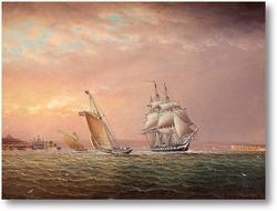 Картина Американские корабли на побережье