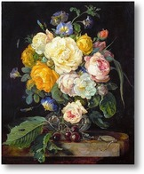 Картина Натюрморт с букетом цветов, вишнями и часами (1655-1565) (Вена,