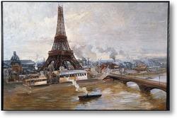 Картина Эйфелева башня и Марсово поле в январе 1889