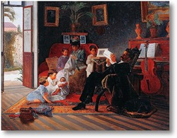 Картина Сцена Семьи Адольфо Пинто