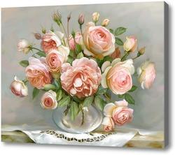 Картина Розы в стеклянной вазочке