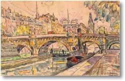 Картина Буксир на Новом мосту, Париж