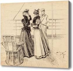 Картина Беседы у моря, 1898