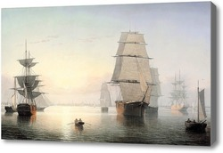Купить картину Бостонская гавань на закате