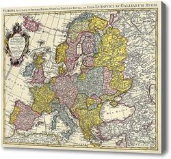 Картина Карта Европы.Ретро