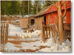 Картина Конец зимы, с хозяйственными постройками и клюют куры