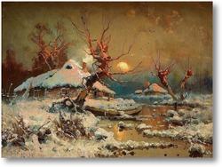 Картина Солнце в зимний