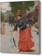 Картина Уличная сцена с элегантной леди.