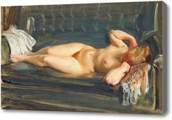 Картина На серо-голубом кожаном диване, Цорн Андерс