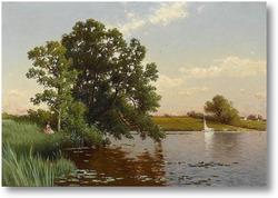 Картина Молодая женщина на берегу озера