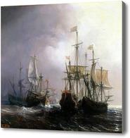 Картина Захват трех голландских торговых суден французскими кораблями.Гюден Теодор