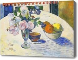 Картина Цветы и ваза с фруктами на столе