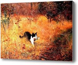 Картина Кошка на  охоте