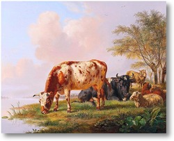 Картина Коровы и овцы на берегу реки