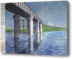 Картина Сены и железнодорожный мост в Аржентее