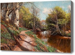 Картина Весенний пейзаж с рекой
