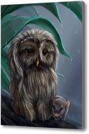 Картина Сова и мышонок под дождем