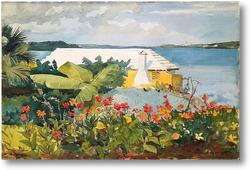 Картина Цветочный сад и коттедж.Бермуды