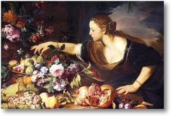 Картина Женщина собирает цветы