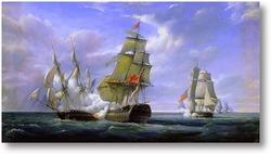 Картина Морской бой между французским фрегатом Канонир и английским кора