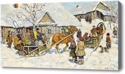 Купить картину Зимнее катание на санях