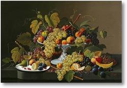 Картина Натюрморт фруктов и вина на столе