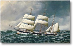 Картина Норвежский корабль в море на сниженных парусах