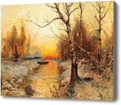 Картина Вечерний пейзаж с крестьянскими домами