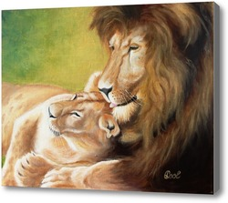 Картина Картина маслом. Львиное семейство. Холст 40х50