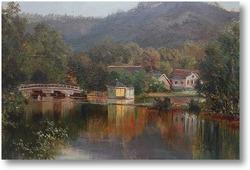 Картина Озеро.Пейзаж с мостом