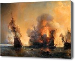 Картина Атака на английский флот графом Турвиллем и Жаном Бартом в Смирн.Гюден Теодор
