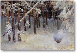 Картина Лес зимой. 1880-е