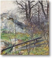 Картина Лес сцена с забором