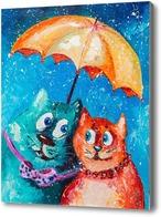 Картина Двое под одним зонтом