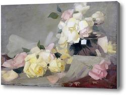 Купить картину Лимонные розы в стеклянной вазе