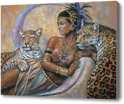 Картина Девушка с леопардами