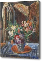 Картина Натюрморт с букетом и ширмой