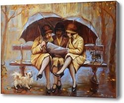 Картина Три девицы под дождем