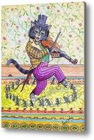 Картина Кот играет на скрипке