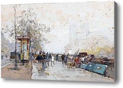 Картина Набережная Сены и Нотр-Дам де Пари